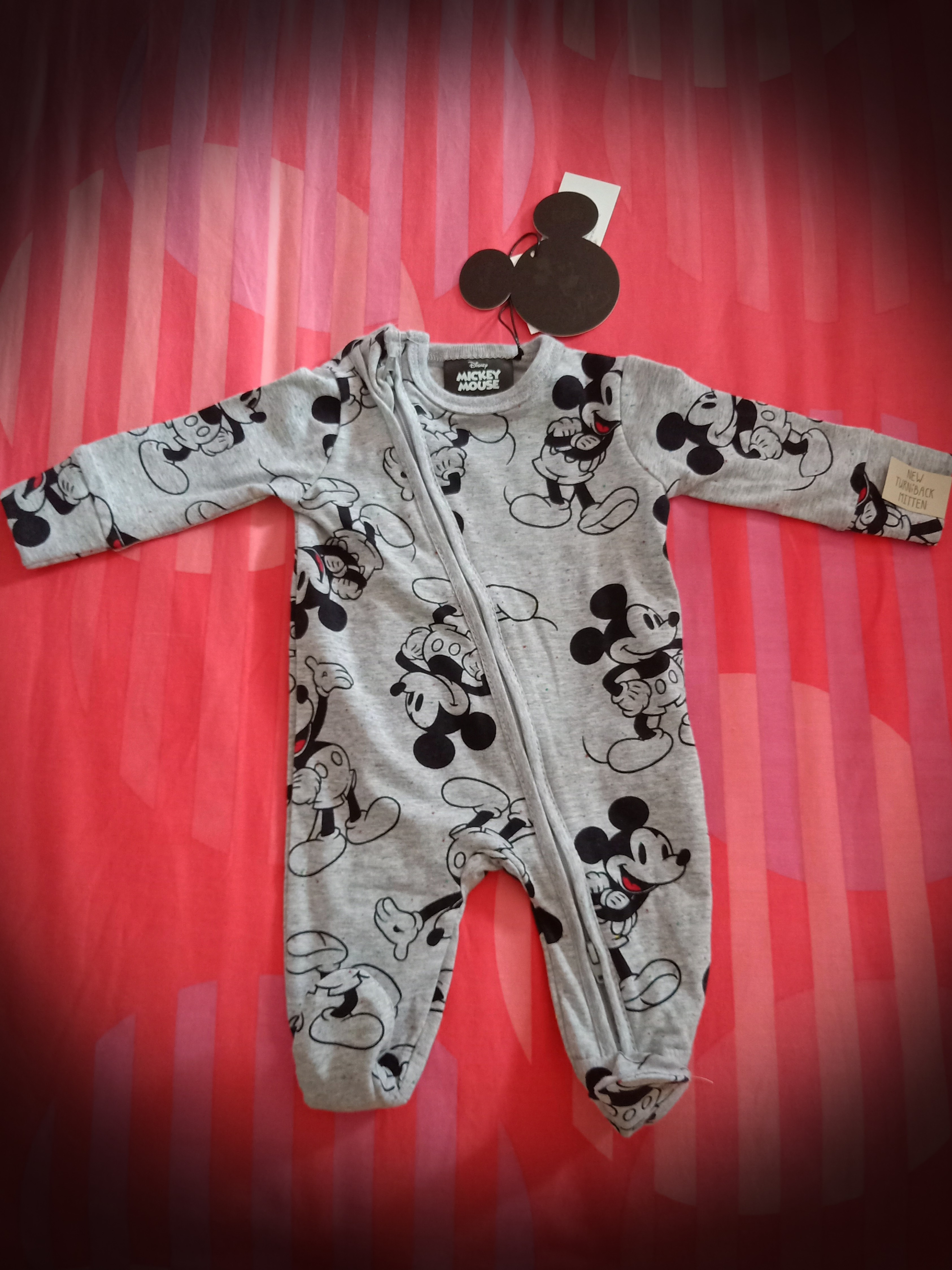 Outfits & Sets Next Disney Baby 3-6 Months Grey Mickey Mouse Romper 100% Original