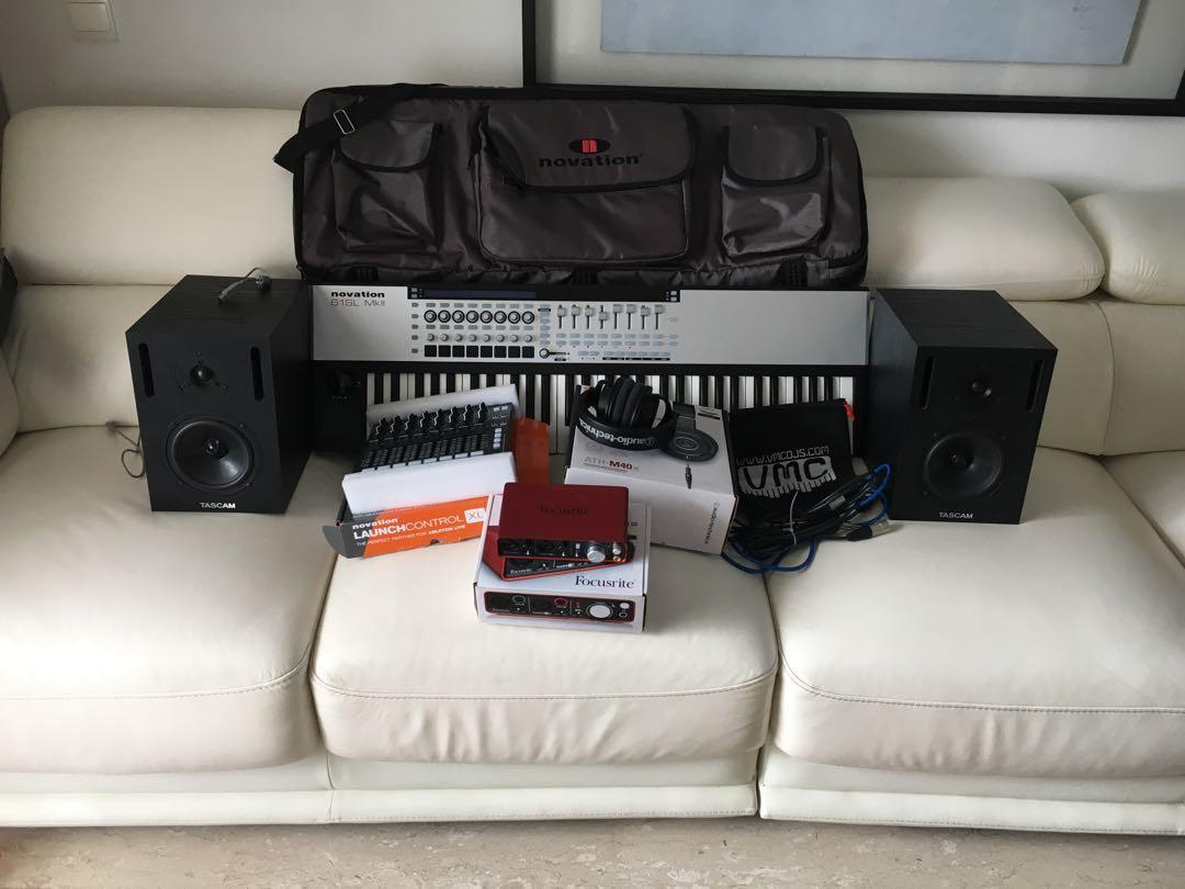 Full home recording studio setup everything except a mic.