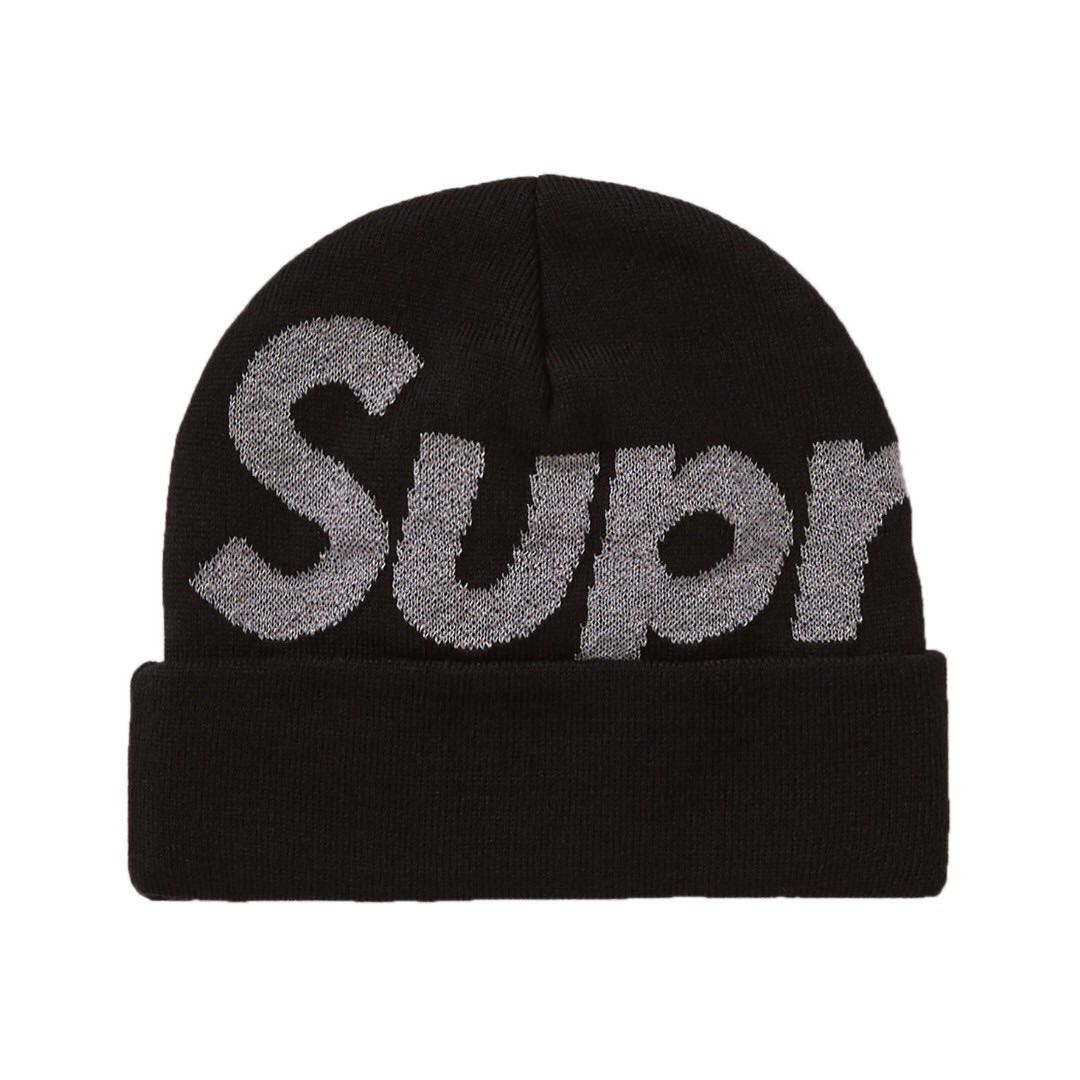 762d956089a 💯 IN STOCK  Supreme Big Logo Reflective Beanie (FW18)