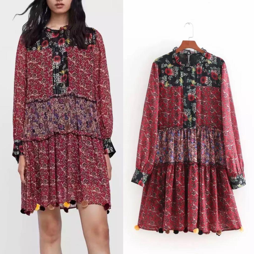 63fbbe41 💃🏻Inspired Zara Patchwork Print Pompom Dress💃🏻, Women's Fashion ...