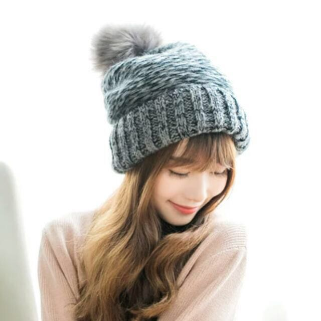 7e41ef756fb Knitted Wool Beanie With Faux Fur Pouf