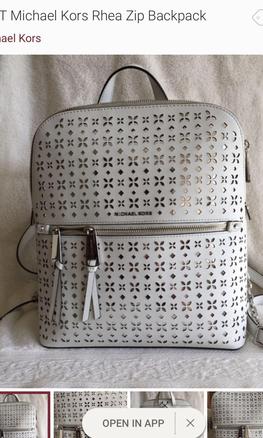 c86975ff3c94 Michael Kors Rhea Slim Floral Perforate Medium Backpack Bag Optic ...