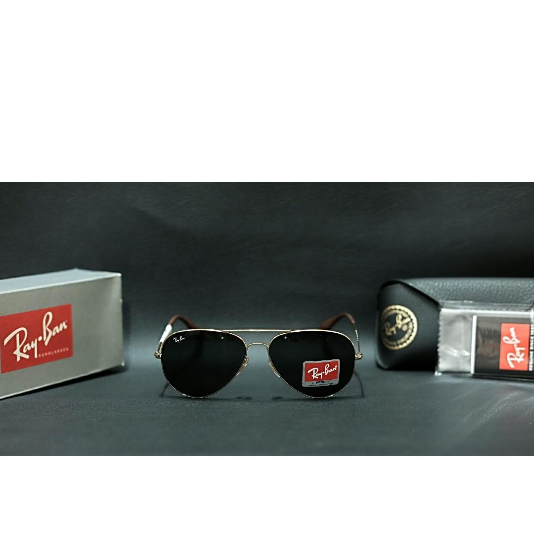 Original kacamata Rayban aviator 3558 size 58 frame gold lensa black ... 5c345cf978