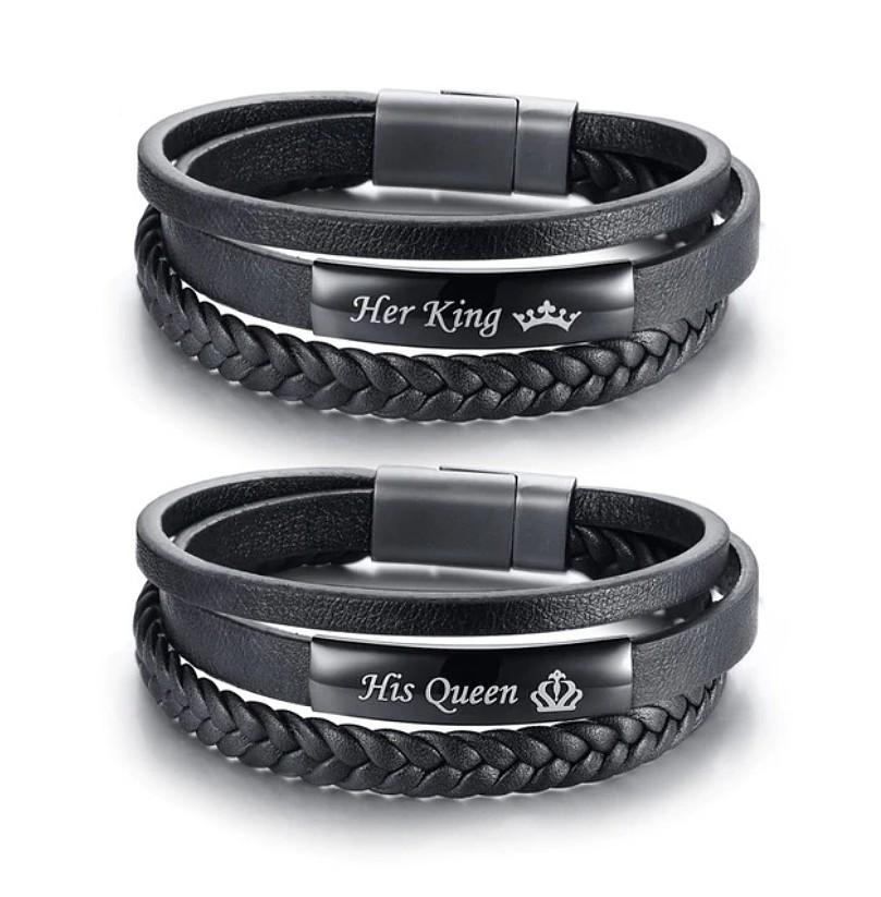 c491f63385792 SALES]👫KING & QUEEN CROWN COUPLE BRAIDED GENUINE LEATHER COUPLE ...
