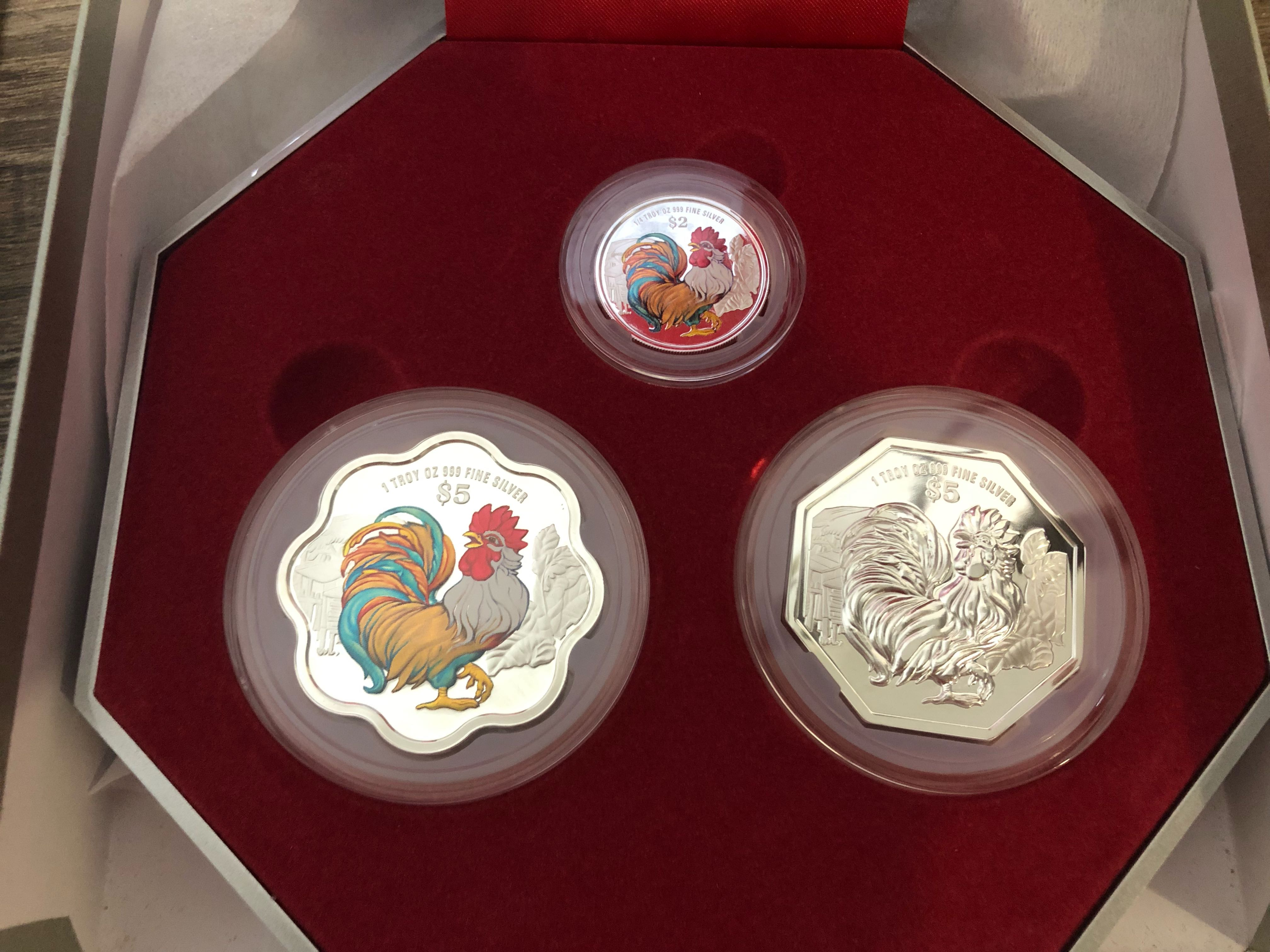 db21a2040767 Singapore Mint 2017 Rooster Chinese Zodiac 3 Silver Coin Set ...