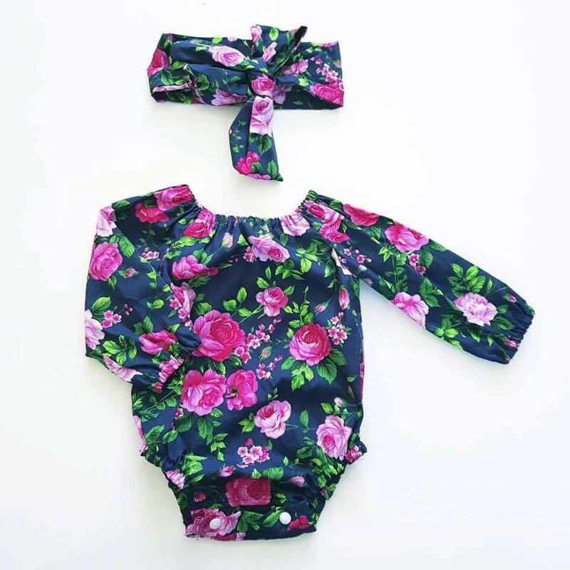 f271c331e60c ✔️STOCK - 2pc PURPLE FUSCHIA PINK ROSE FLOWERS LONG SLEEVES ROMPER TOP    HEADBAND SET CASUAL NEWBORN TODDLER BABY GIRLS KIDS CHILDREN CLOTHING