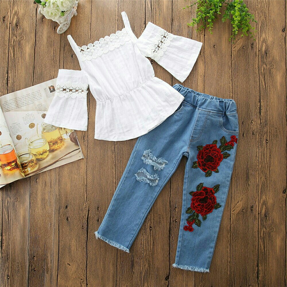 14f256c30 Instock  White lace tops with flower denim pants.