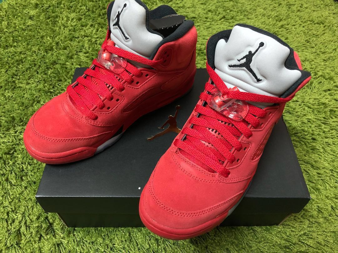 fa8b4e599d8a WOMENS NIKE AIR JORDAN 5 RED SUEDE