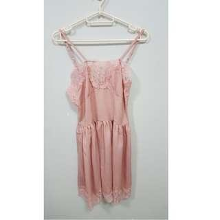 Pink Silk and Lace Short Dress