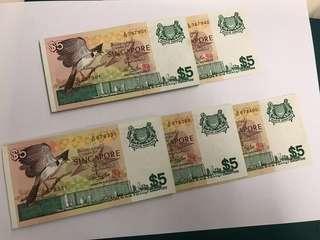 Old Notes P3 - Singapore ($5 Bird Series)