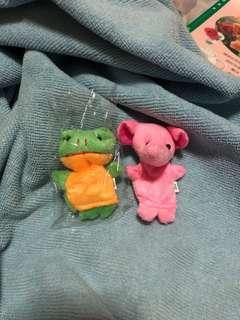 小動物手指偶 粉紅大象 青蛙