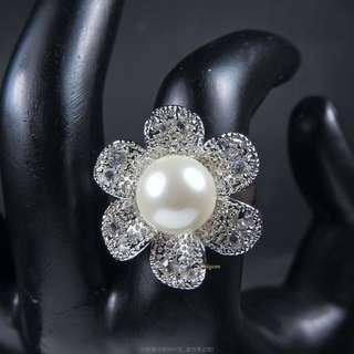 珍珠林~新品又來一批了~.幸運花.12MM珍珠戒 #075 黑白珍珠任選