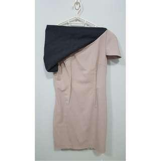 Salmon short dress with grey asymmetrical detail