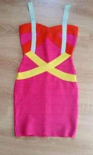 HERVE LEGER Inspired Cross Front Colourblock Bandage Dress