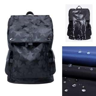 Waterproof Backpack Stylish Modern Korean Bag Straps Casual Travel Holiday School Simple And Nice Concept Student Study Books Nylon Canvas Laptop Tablet Wave Lightweight Light Weight Unisex Women Men Strap Small Big Compartments Male - Camo Black Grey