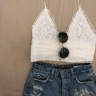 White embroidery crop top