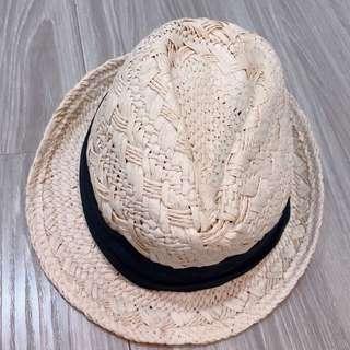 編織杏色草帽紳士帽