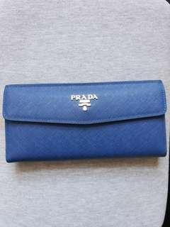 (RESERVED)Blue long wallet gold logo
