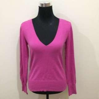 Pink Vneck  Longsleeves Sweater