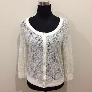 White Cotton/Lace Cardigan