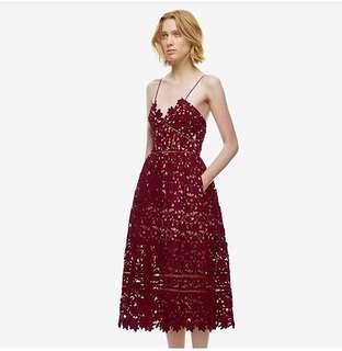 Burgundy lace dress -Small