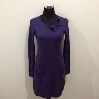 H&M Violet Cotton Longsleeves Dress