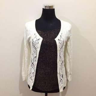 Hollister White Cotton/Lace Cardigan