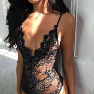 Oh Polly Black Lace Bodysuit