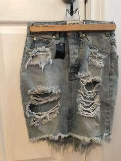 ONE teaspoon light destroyed denim skirt