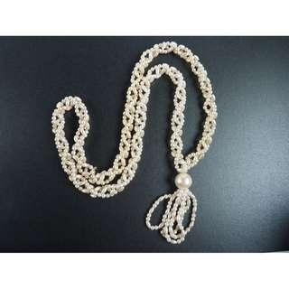 Vintage 1960s Faux Pearl Beaded Tassel Lariat Necklace, nk579