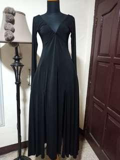 Long dress belahan gaun hitam panjang