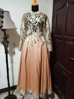 Gaun gold panjang long dress