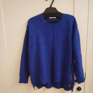 韓國 質感且保暖的寶藍色柔軟造型兔毛毛衣