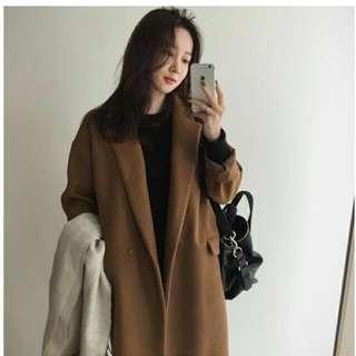 50%wool 韓國熱賣! 簡約氣質大衣外套(黑色)