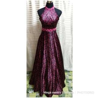 For rent/sale: printed pink & black ball gown (w/ peticoat)