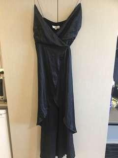 Black formal wrap dress