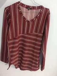 Kaos Panjang Merah Stripe