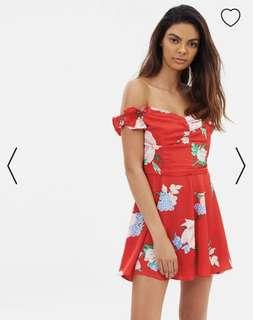 Miss Selfridge Red Bardot Floral Playsuit