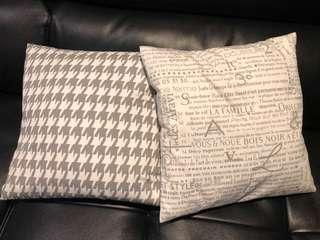 Decorative feather pillows with covers