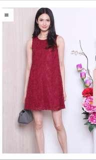 Neonmello meredith mesh embroidery shift dress in wine red