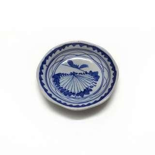 "Antique Hand Painted Blue & White Footed Plate ( 4.4"" )"