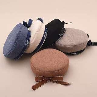 韓國日本毛呢絲帶畫家帽貝雷帽可愛
