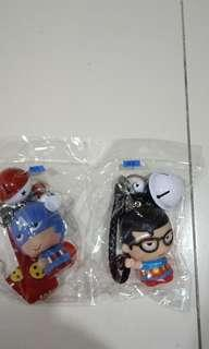 Captain America and Superman bag charm