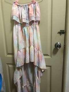 🚚 平口前短後長彩色洋裝