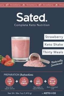 Sated (Ketolent) Strawberry Naturally Sweetened Keto Meal Shake