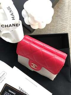 New Chanel pink red small Gold HW wallet receipt! 100% Authentic