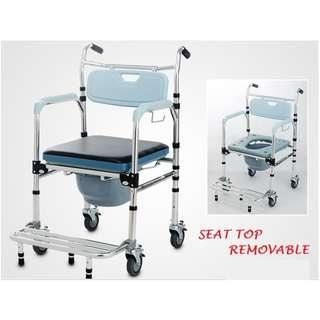 COMMODE WHEELCHAIR, BRAND NEW, ALUMINIUM,IMPROVED DESIGN AND MORE STURDY