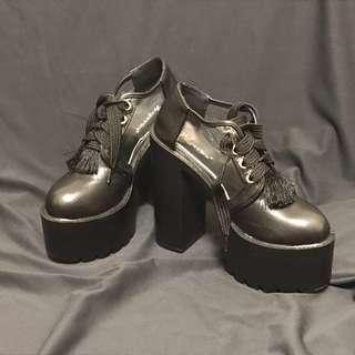 🚚 厚底粗跟高跟鞋 黑色