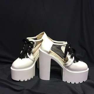 🚚 厚底粗跟高跟鞋 白色