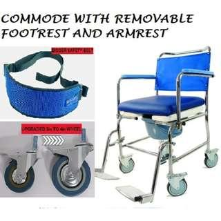 COMMODE WHEELCHAIR  WITH DETACHABLE ARMRESTS AND LEGRESTS